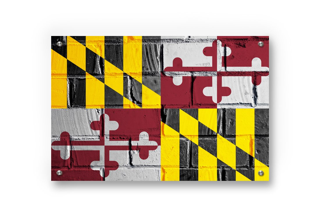 Maryland State Flag Graffiti Wall Art printed on Brushed Aluminum by Buttered Kat  (X Large (39 x 26 inches))