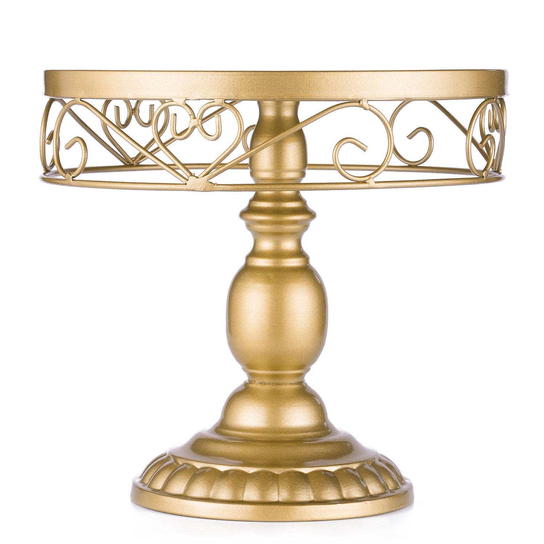 "URANMOLE 18K Gold Antique Metal Cake Stand, Round Cupcake Stands, Wedding Birthday Party Dessert Cupcake Pedestal/Display/Plate (18K Gold Heart-Shaped Decor 02-10"")"