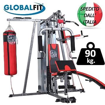 Multiestación de musculación completa y multifunción con 100 kg de pesas, barras para ejercicios de tracción, saco de boxeo y banco de abdominales: ...