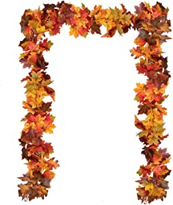 2 Pack Fall Maple Leaf Garland - 6Ft/Pc Artificial Autumn Garland Hanging Fall Leave Vines for Thanksgiving Decor
