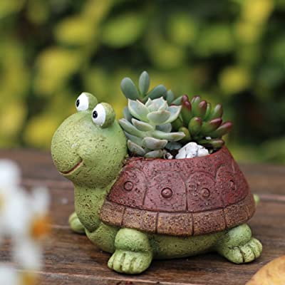 Peyan Cute Turtle Succulent Pots with Drainage Resin Mini Flower Pot Garden Plants Vase Desk Flower Decoration Best Gift for Children's Day: Home & Kitchen