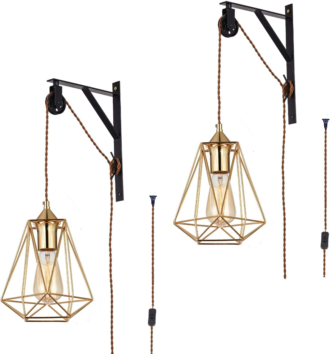 Set of 2 Vintage Design Industrial Wheel Farmhouse Cage Wall Mount Pulley Wall Pendant Lamp with 15-Foot Brown Plug and Switch Wall Lamp (Gold)