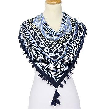Bufanda señora algodón generoso toalla con flecos engrosamiento bufanda de impresión cálido chal viento nacional Retro