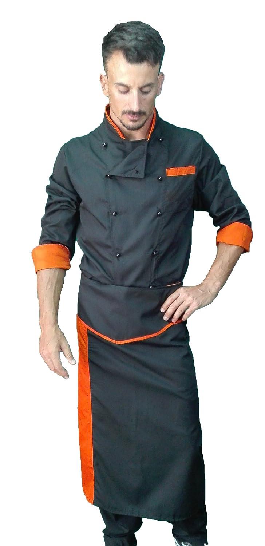 tessile astorino completo, divisa cuoco chef, giacca pantalone e davantino, uniforme Uomo, nero e arancione, Made in Italy