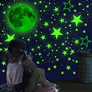 858 PCS Glow in The Dark Stars Wall Stickers Wall Decals-Realistic Stars and Full Moon Shining Decoration Glowing Ceiling Decals Stickers for Girls Boys