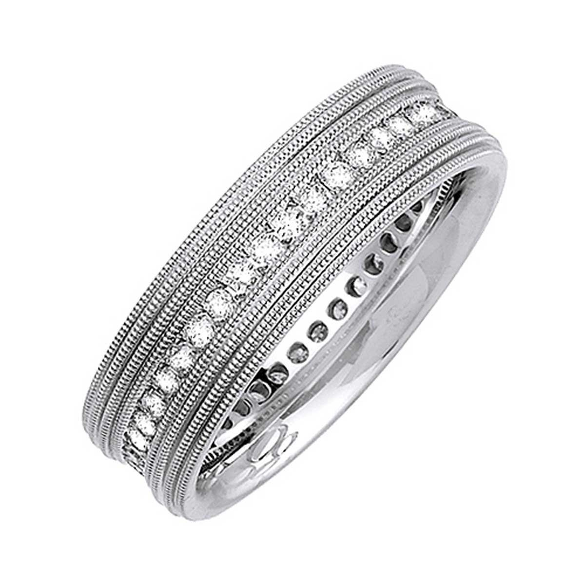 18K White Gold Love Knot Men's Canal Comfort Fit Wedding Band (7mm) Size-9.5c1