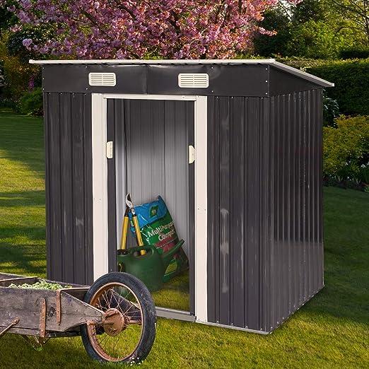 JAXPETY cobertizo de acero para jardín de 4 pies x 6 pies, color gris oscuro con puerta corredera: Amazon.es: Jardín