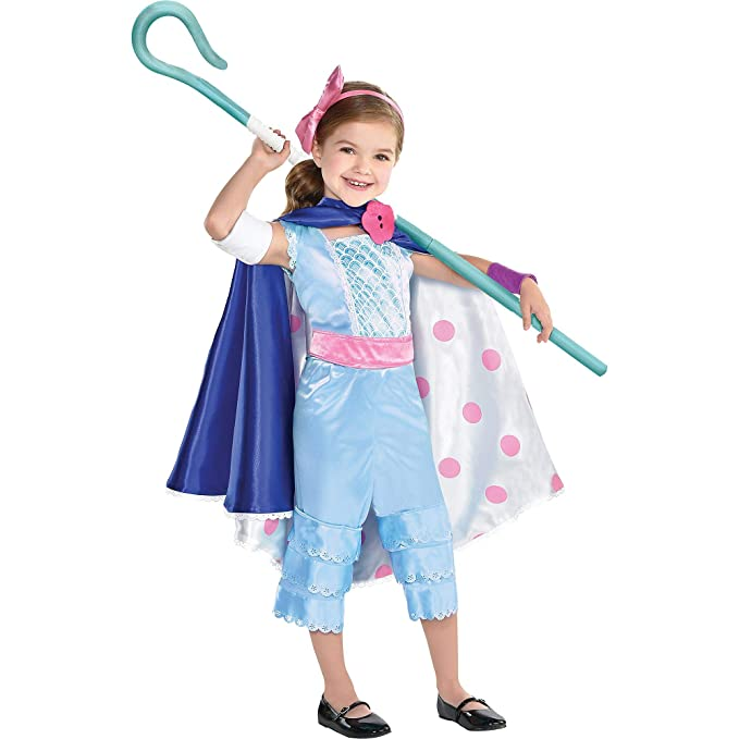 Party City Toy Story 4 Bo Peep Costume for Children, Includes a Jumpsuit, a Skirt/Cape, a Staff, and More