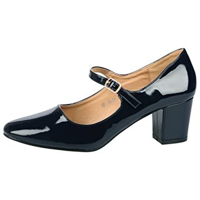 091989ca64d ByPublicDemand Xanthe Womens Mid Block Heel Mary Jane Smart Office Court  Shoes Navy Blue Patent Size