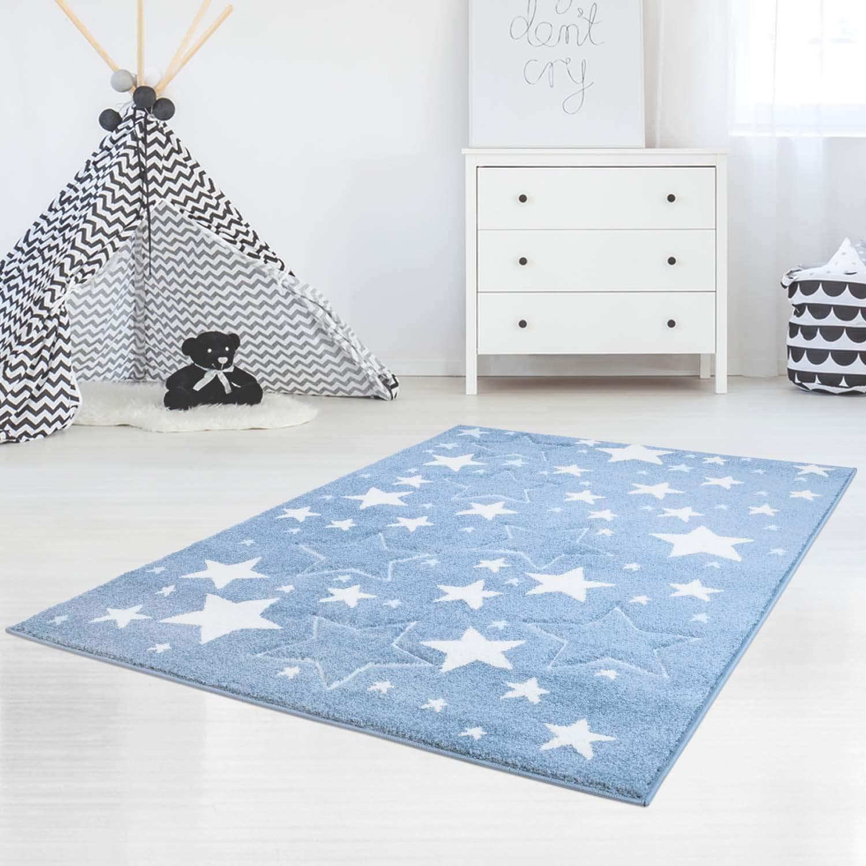 MyShop24h Teppich Kinderteppich Spielzimmer Sterne Sternenteppich Stars Sternenhimmel Pastell Farben Oeko-Tex 100, Größe in cm 140 x 200 cm, Farbe Blau