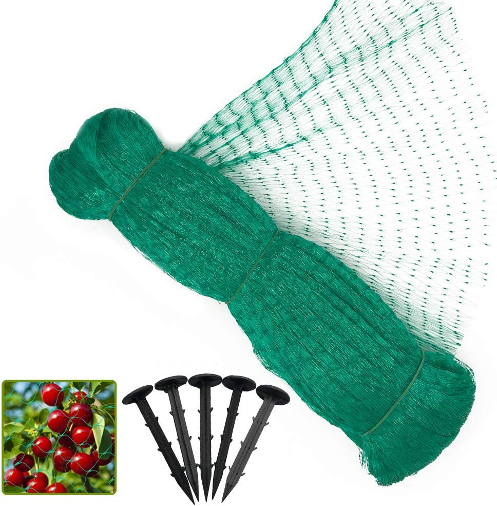 13 x 32 Feet Anti Bird Netting, Green Garden Netting Protect Fruit and Vegetables from Birds and Animals, Bonus 20 Ground Stakes - 0.56 in Mesh