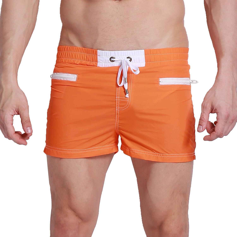 "SILKWORLD Men's Outdoor Running Shorts With Mesh Lining Orange US X-Large Asia XXL Waist:38-40"""