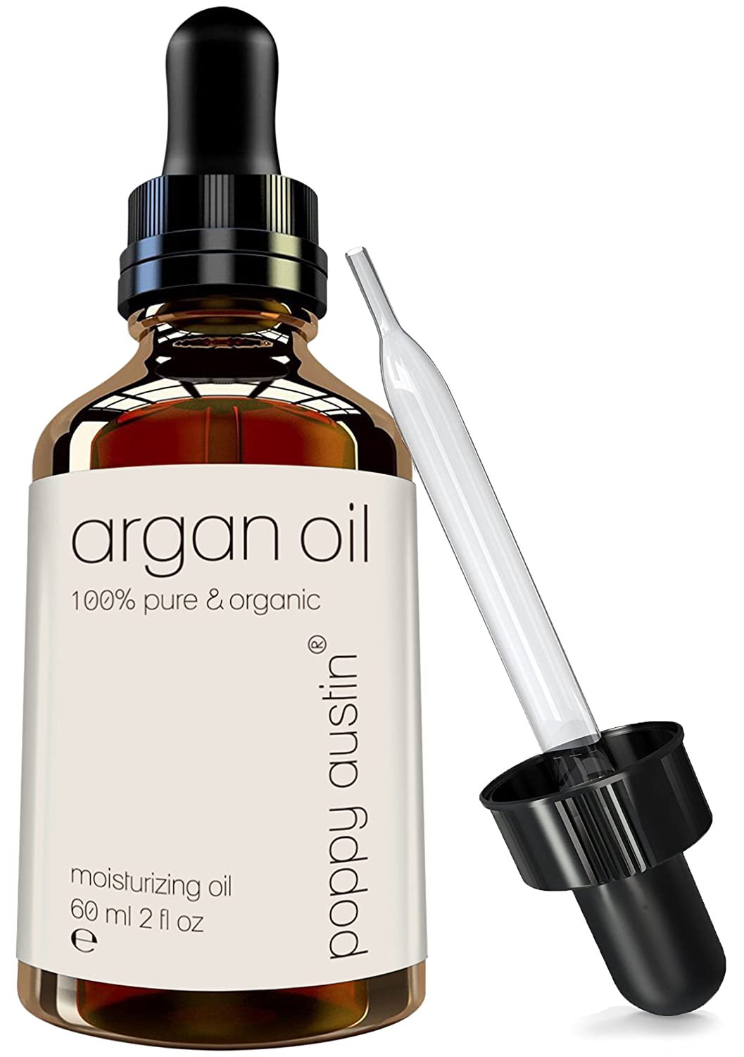Pure Argan Oil for Hair, Skin & Face by Poppy Austin® - The Finest, 100% Purified Moroccan Argon Oil Treatment - Organic, Cold Pressed, Hand Made & Responsibly Sourced Argania Spinosa - HUGE 60ml