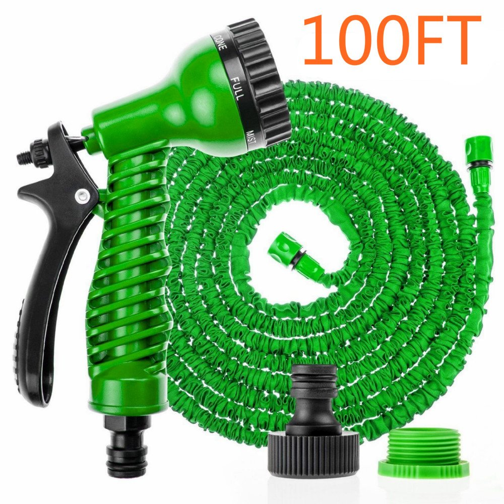 LINFON 100FT Expanding Garden Water Hose Pipe with 7 Function Spray Gun Expandable Flexible Magic Hose Anti-leakage Lightweight Easy Storage In Random Color(Green/Blue)