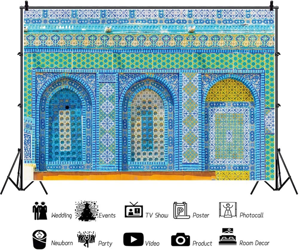 YEELE 10x8ft Religious Theme Backdrop Dome of The Rock on The Temple Mound in Jerusalem Israel Photography Background Historicaland Travel Theme Artistic Portrait Photoshoot Props Digital Wallpaper