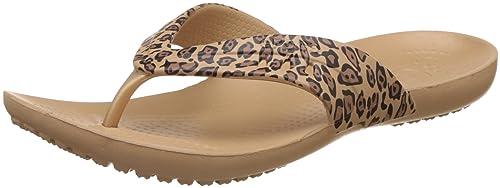 crocs leopard flip flops