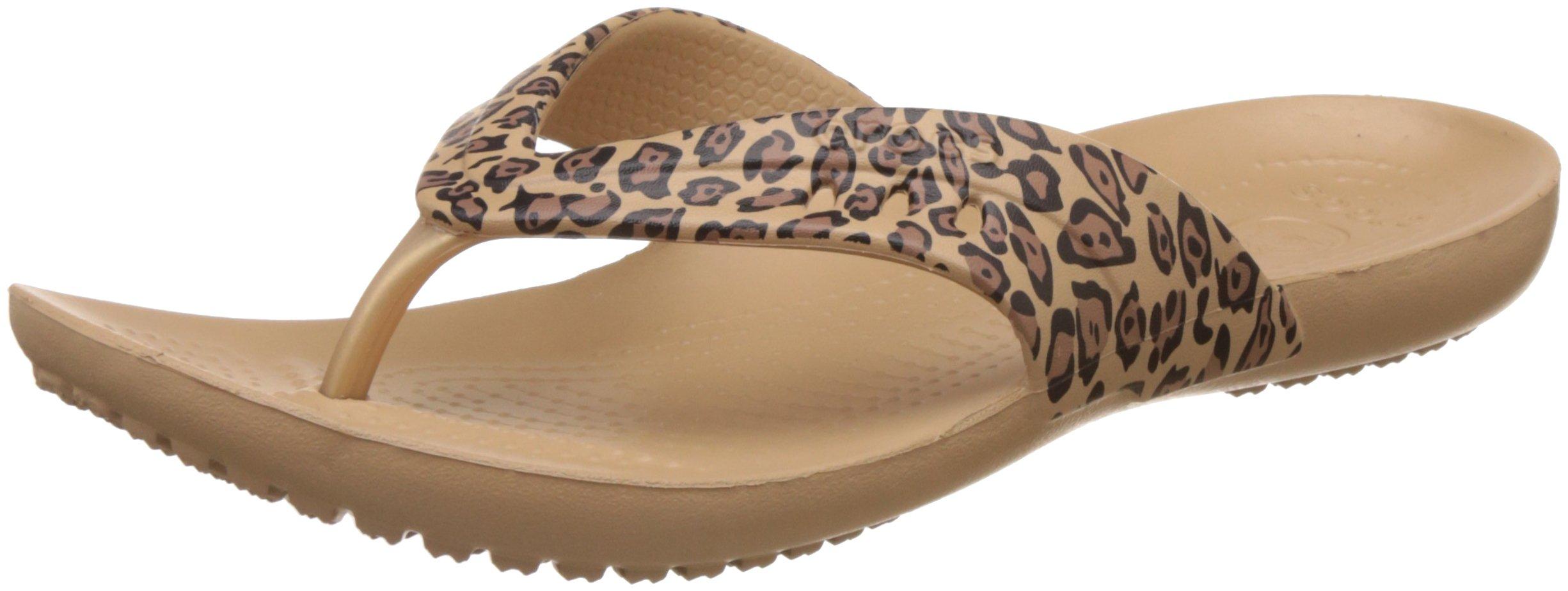 Crocs Women's Kadee Print Flip-Flop, Leopard, 8 M US