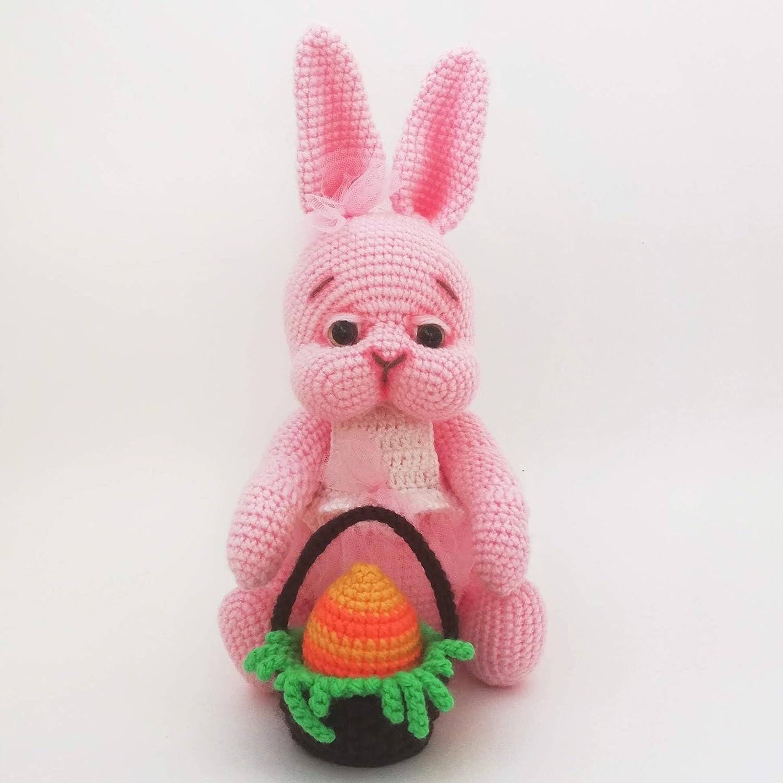 1 Pink Crochet Egg 2 Plastic Easter Eggs Vintage White and Pink Crochet Easter Bunny Basket with 3 Felt Easter Bunny Rabbit Picks Grass