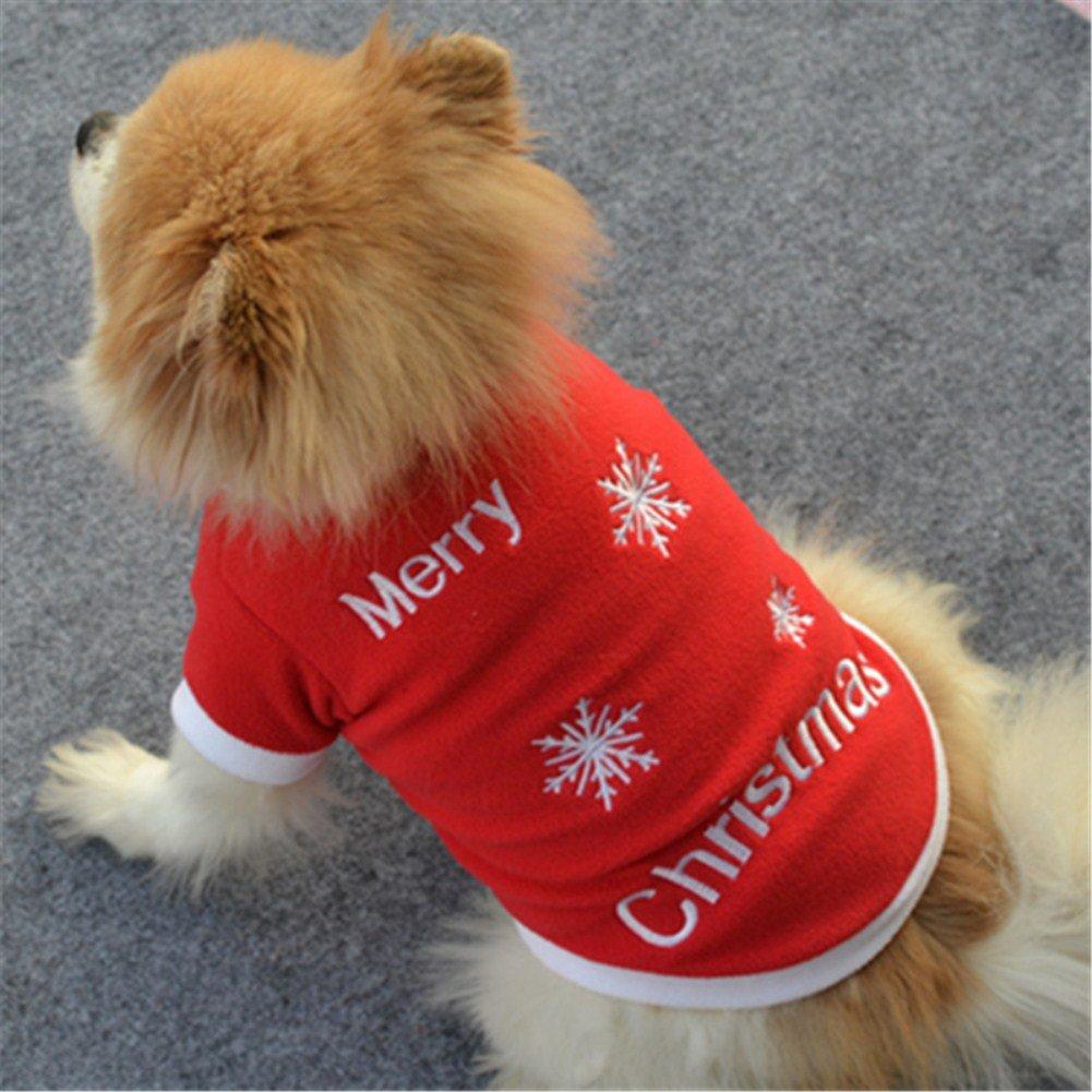 stile natalizio Vikenner Maglioncino per cani motivo: fiocchi di neve colore: rosso. in velluto termico e caldo