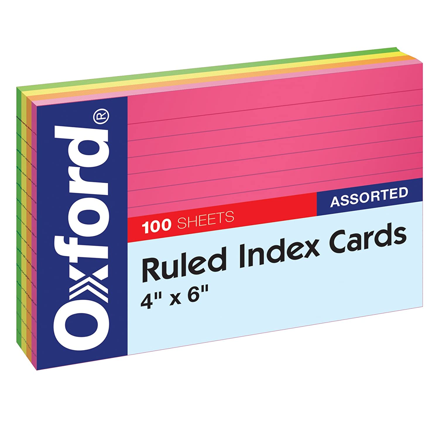 Oxford Neon Index Cards, 4 x 6, Ruled, Assorted Colors, 100 Per Pack (99755EE) 4 x 6 Esselte Corporation