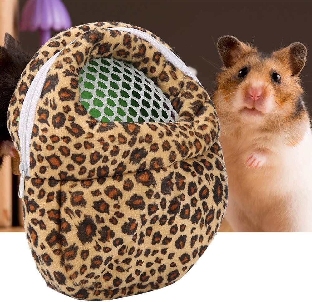 Bolso Tipo Mochila Ideal para Transporte de Animales Pequeño Hamster Erizo Diseño de Leopardo Estampado Animal Mochila de Viaje con Correa 21 x 25 cm ( Color: Rosa, Talla: L)
