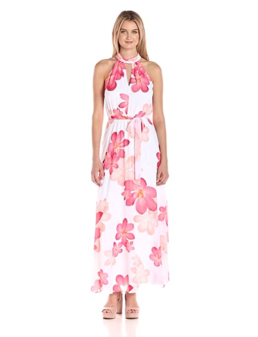 15e6891ce4c Calvin Klein Women s Halter Neck Chiffon Maxi Dress in Floral Print at  Amazon Women s Clothing store