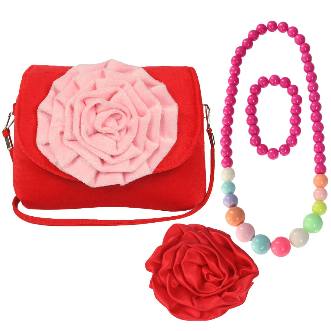 kilofly Little Girl Shoulder Bag + Big Rose Hair Clip + Necklace + Bracelet Set AWP410BLU