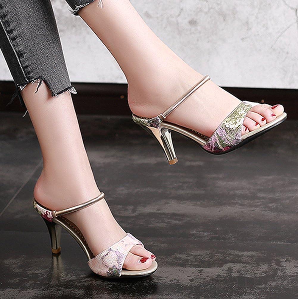 SaraIris Women's Thin Mid Heel Open Toe Summer Shoes Slipper Singback Casual Slipper Shoes Sandals 3 B(M) US Pink B07DBZWFYM 691b12