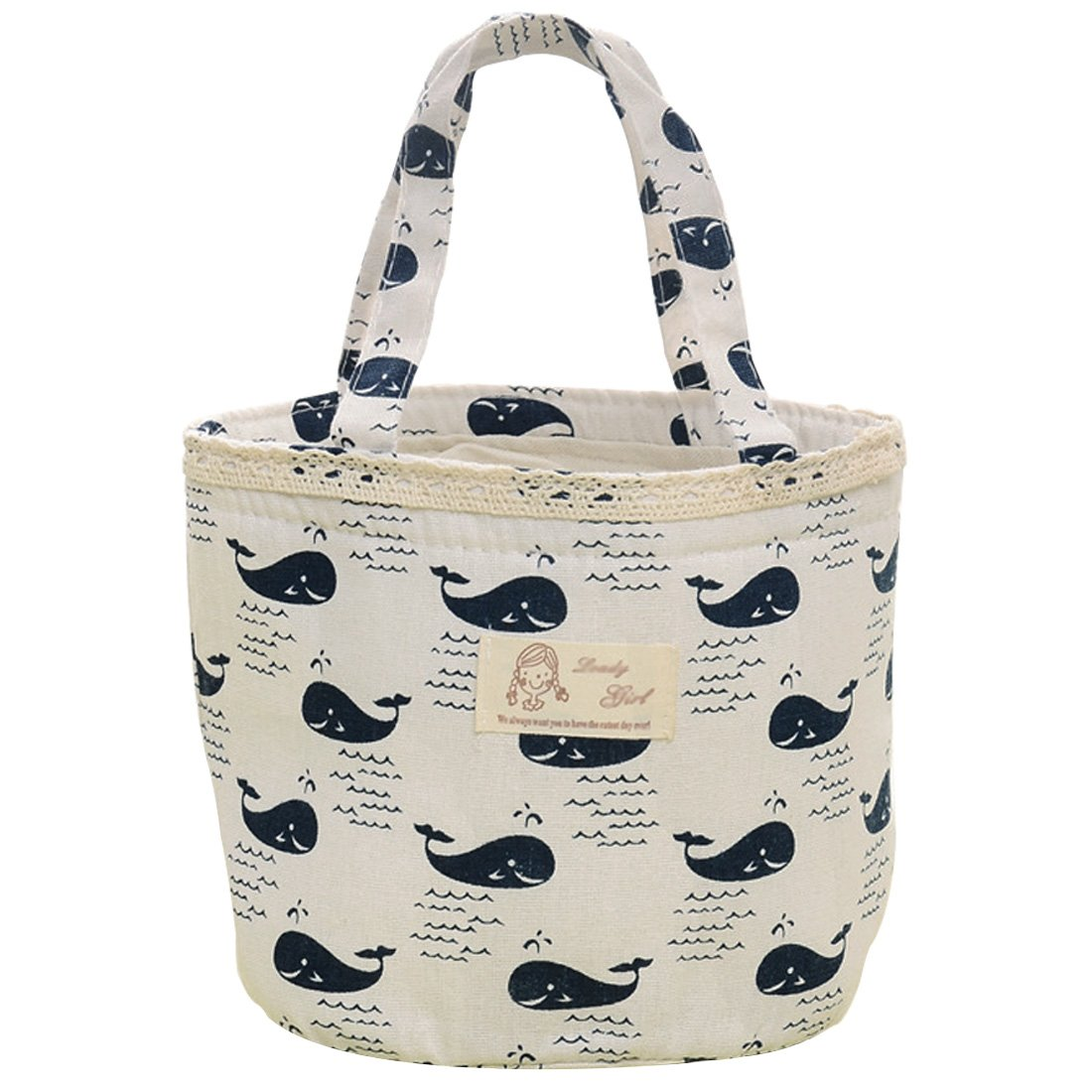 Oyachic Thermal Lunch Bag Insulated Tote Leakproof Drawstring Bag with Foil Liner for Office, School and Picnic (Whale white)