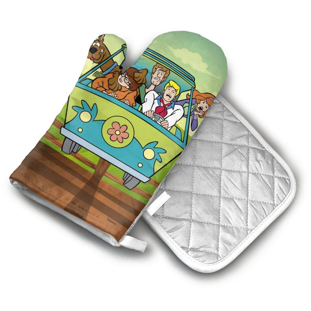 AISDHAJKSD Scooby Doo Minivan Cartoon Car Bumper Sticker Decal Premium Terylene/Nylon Oven Mitts and Pot Mat,Pot Mat/Hot Pads, Heat Resistant Gloves BBQ Kitchen