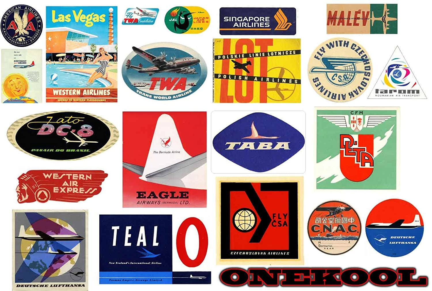 Vintage Airline Luggage Stickers- Retro Pack of 19 Suitcase Travel Decals