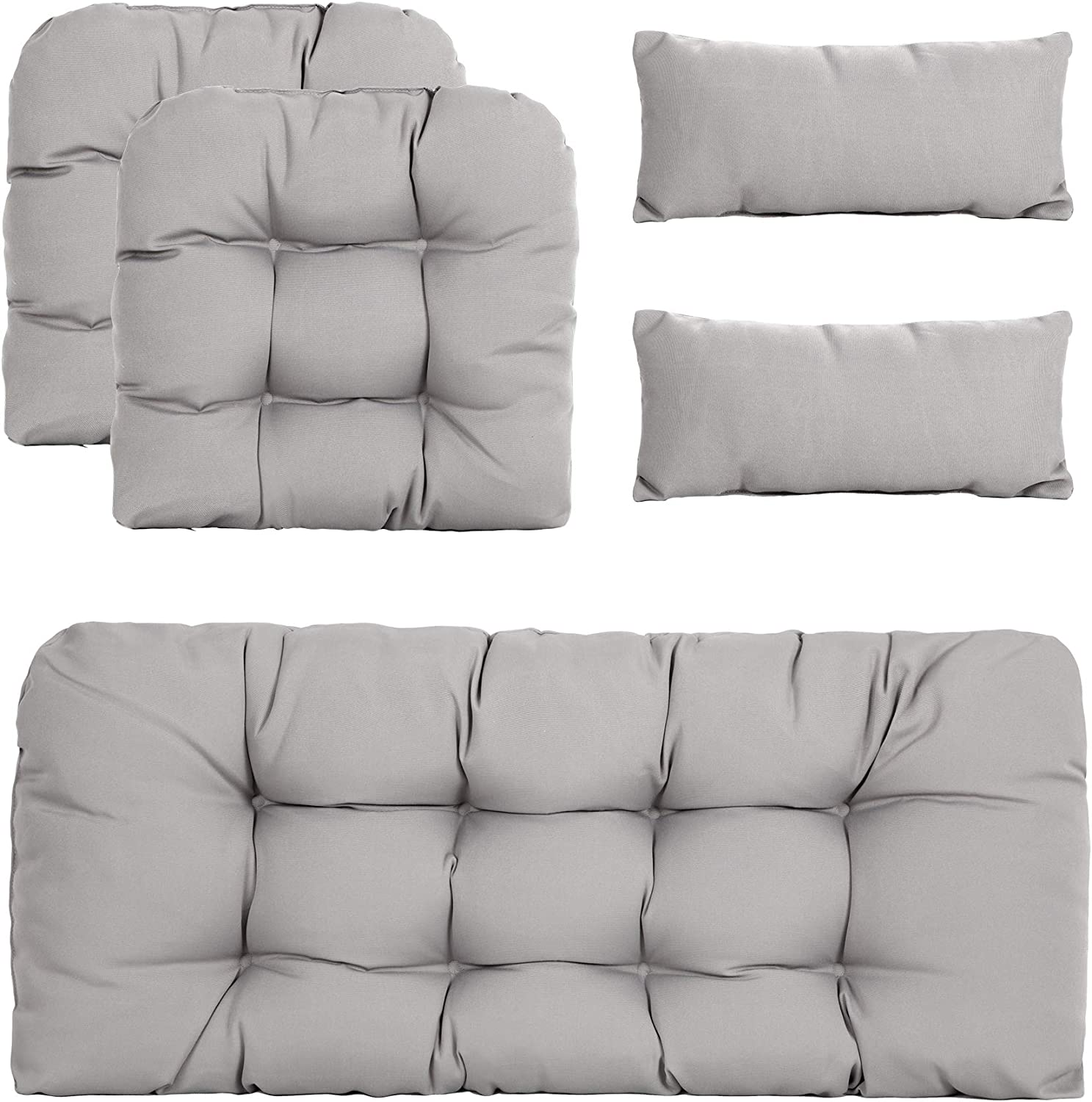 ARTPLAN Outdoor Cushions Loveseat Bench Cushions Set of 5 Wicker Tufted Pillow for Patio Furniture All Weather