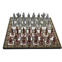 Büyük Boy Metal Osmanlı Bizans Satranç Takımı Antik ve Katlanır Sedef Desenli MDF Ahşap Satranç Tahtası (43x43 cm.)
