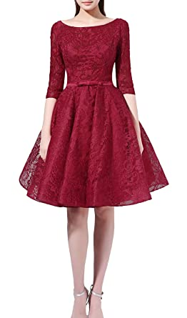 Rongstore Womens Lace Short Burgundy Prom Dress Beading Homecoming Gown US 18W