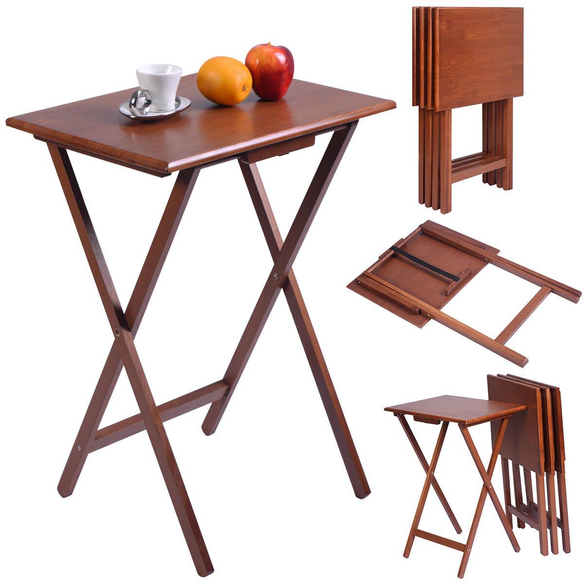 COSTWAY Set of 4 Portable Wood TV Table Folding Tray Desk Serving Furniture (Color Walnut)