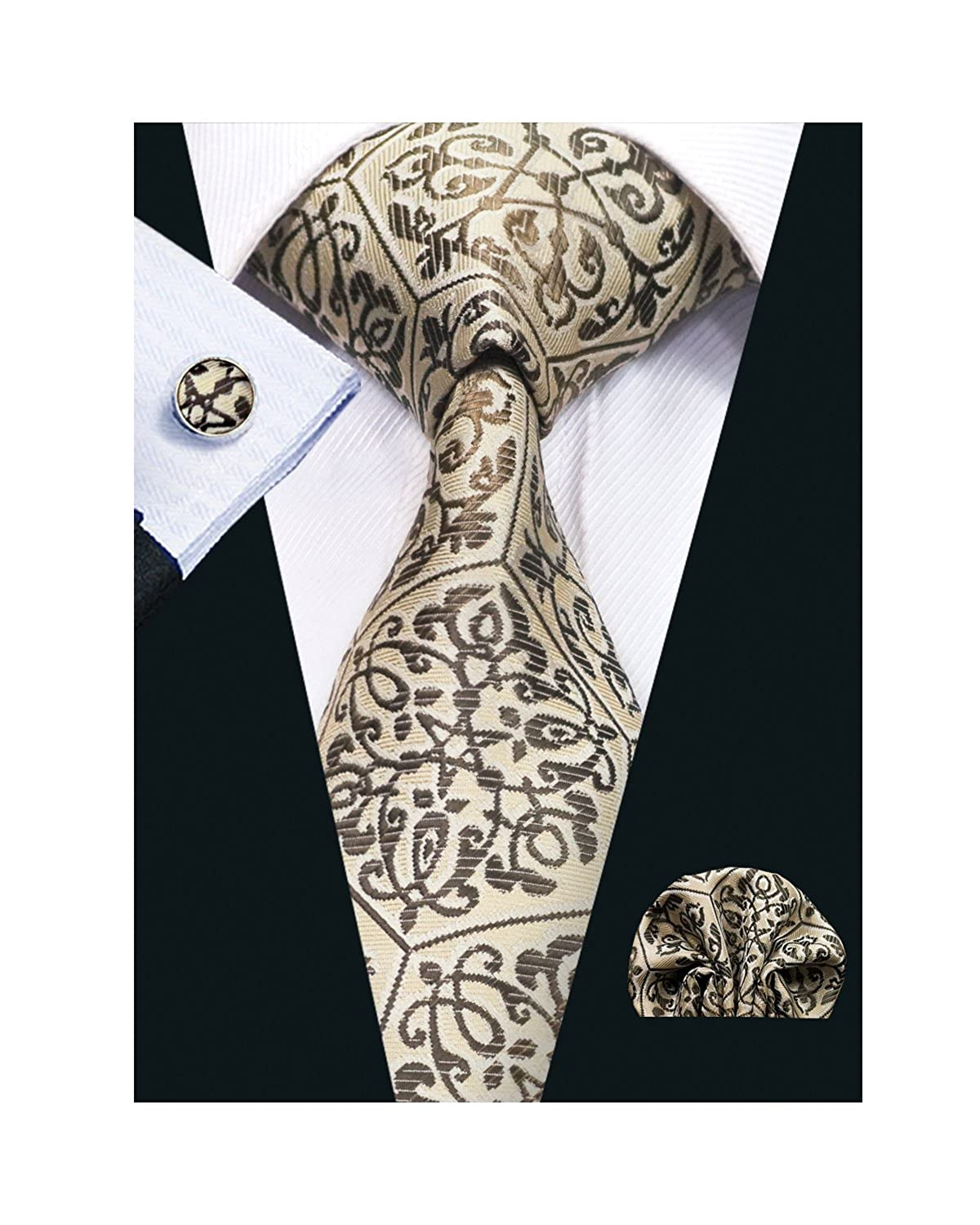 Barry.Wang Ties for Men Designer Hanky Cufflinks Necktie Set WOVEN FBASN-580