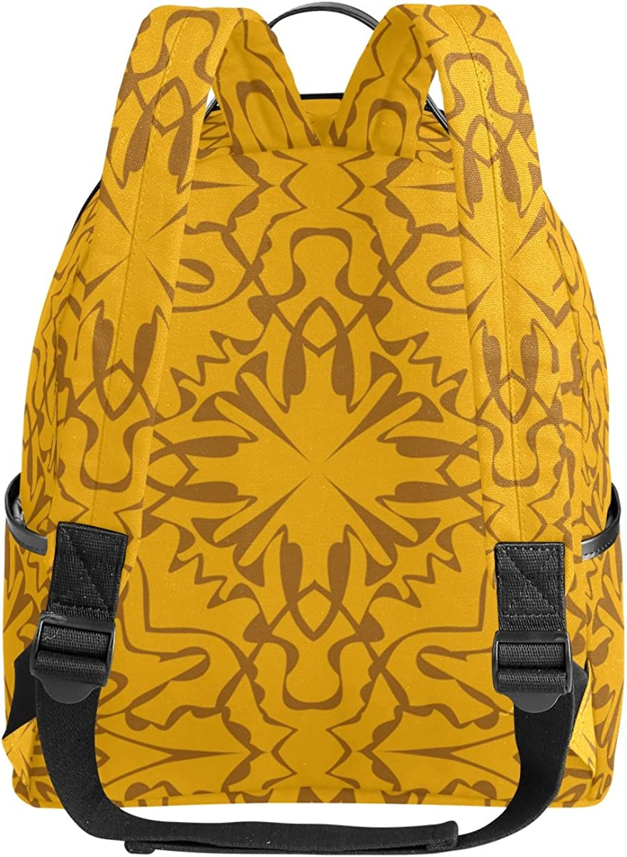 Mr.Weng Golden Brown Abstract Pattern Printed Canvas Backpack For Girl and Children