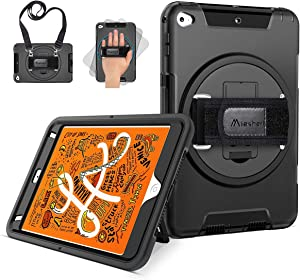 Miesherk iPad Mini 5 Case 2019, iPad Mini 4 2015 Military Grade Shockproof Protective Cover with Rotating Stand+Hand/Shoulder Strap+Pencil Holder for iPad Mini 4th/5th Generation 7.9 Inch, Black