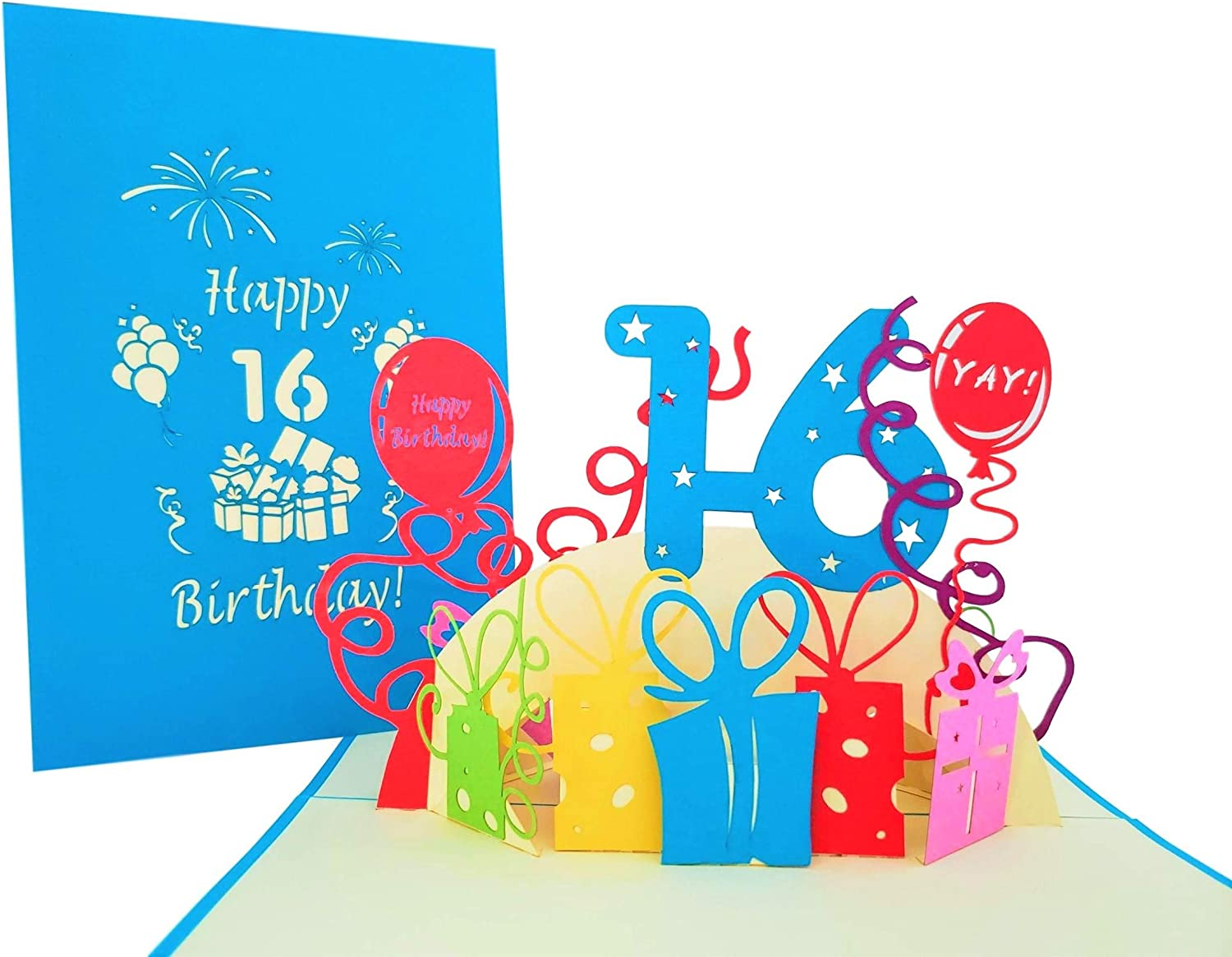 iGifts And Cards Happy 16th Birthday with Presents 3D Pop Up Greeting Card – Sixteen, Awesome, Balloons, Unique, Celebration, Cool, Feliz Cumpleaños