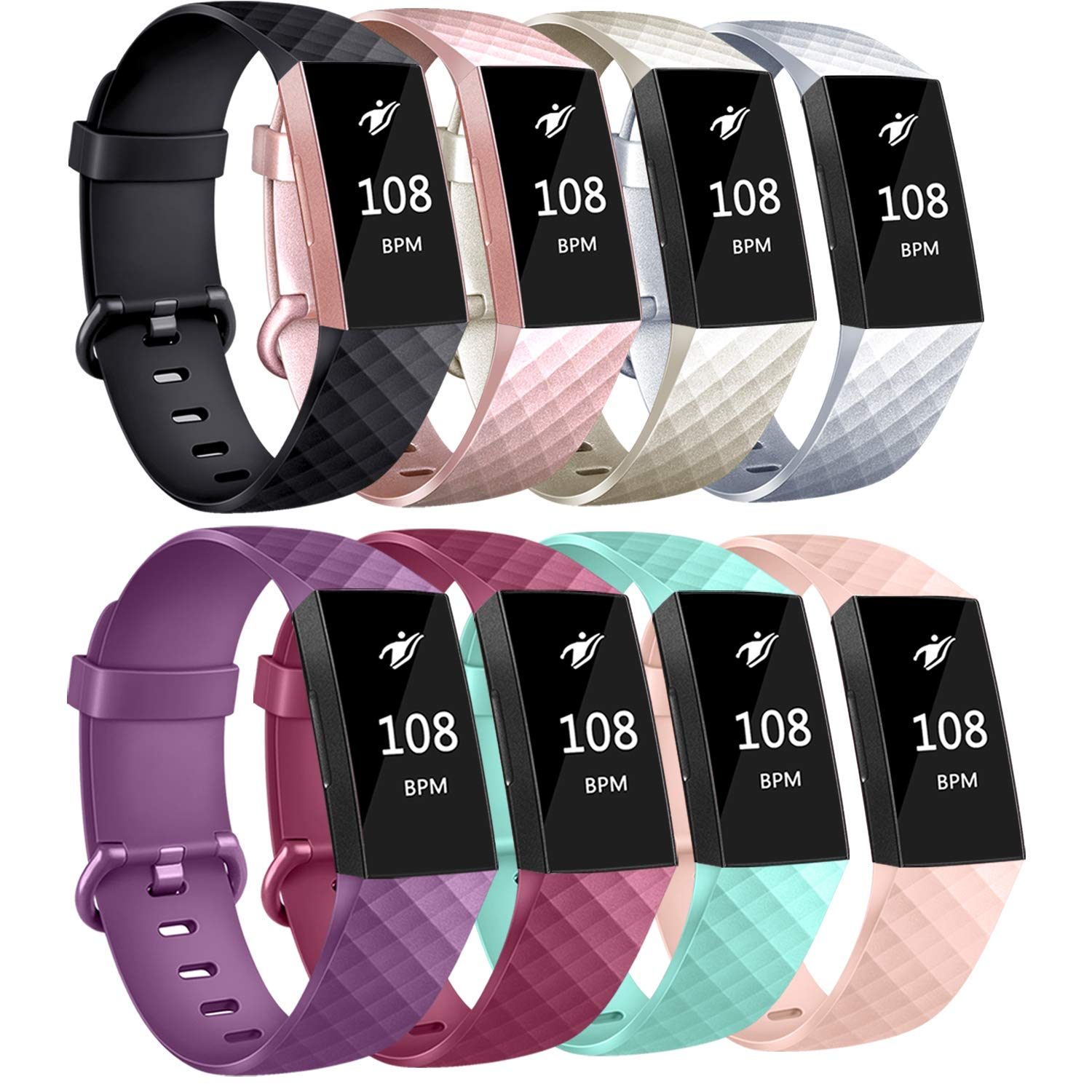 AK Bands Compatible with Fitbit Charge 3 Bands, Sports Replacement Wristbands for Fitbit Charge 3 Fitness Tracker Women Men