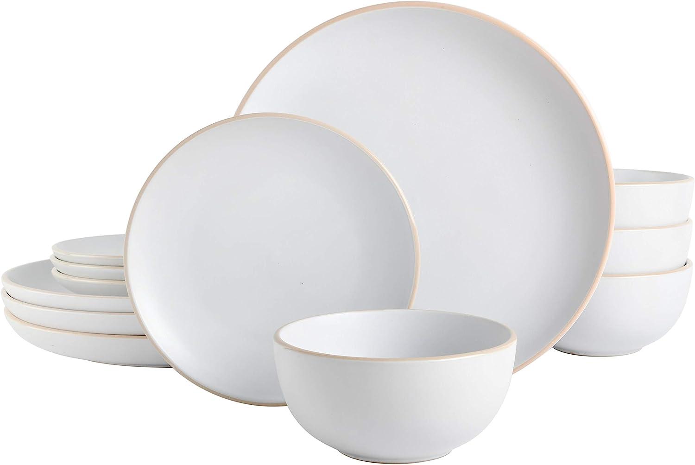 Gibson Home Rockaway Round Stoneware Dinnerware Set, Service for 4 (12pcs), White