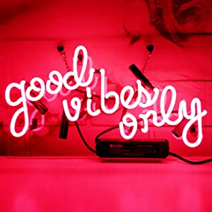 Neon Signs Good Vibes Only Neon Sign Neon Light Sign Pink Neon Sign Light Up Signs Wall Decor Custom Neon Words for Wall Bedroom Girls Halloween Christmas Decor
