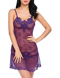 wearella Sexy Valentine s Lingerie Women s Lace Chemise Floral Nightie  Sleepwear 151cd0755