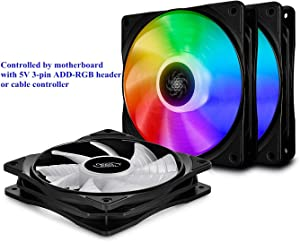 DEEPCOOL CF120 3IN1, Addressable RGB, Motherboard SYNC by 5V ADD RGB 3-pin Header, SYNC with Other ADD-RGB Devices, Cable Controller Available, 3x120mm PWM Fans