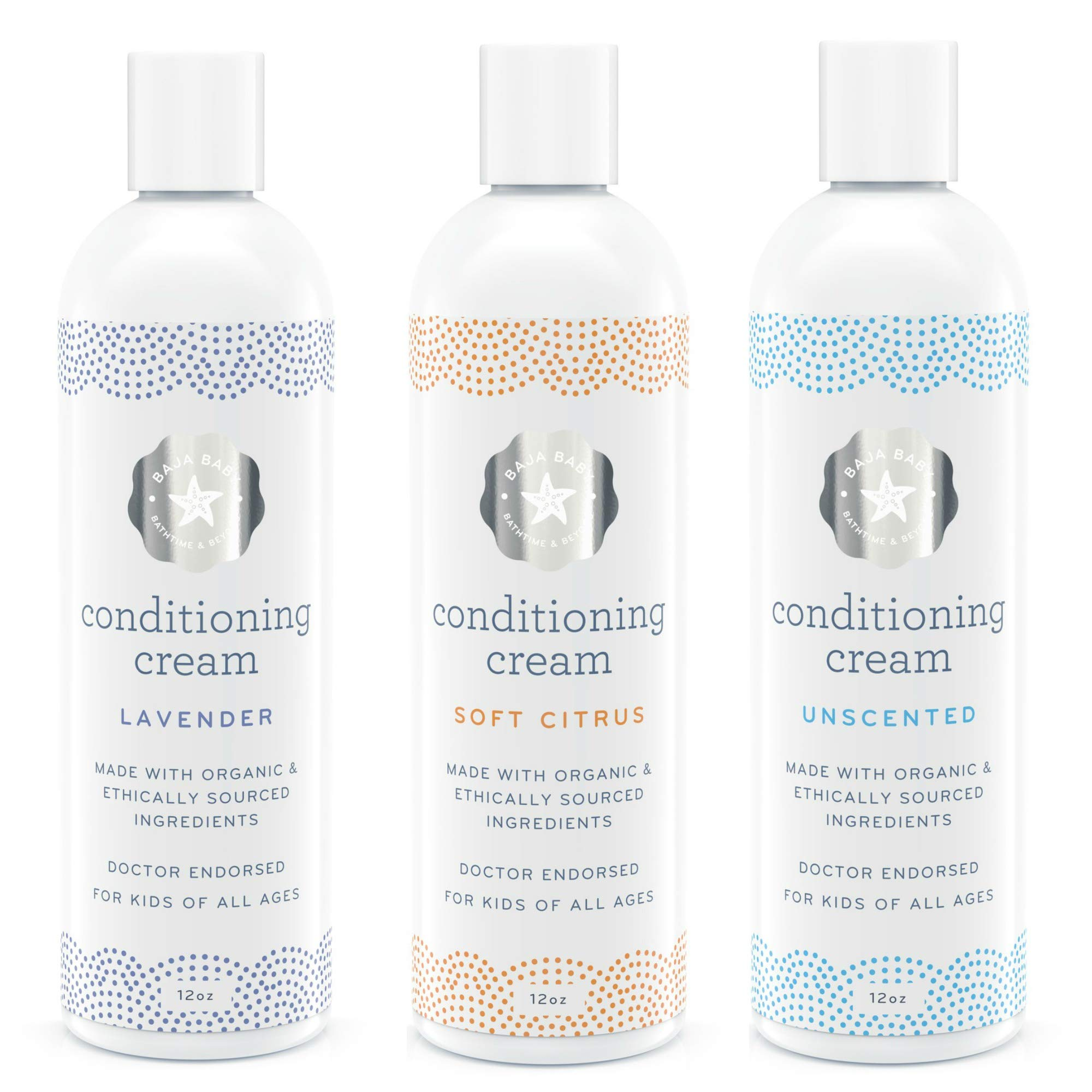 Set of 3 15% Off - Organic Conditioning Cream - Unscented, Citrus & Lavender - All Natural Organic - EWG Verified - 12 Ounces Each - Vegan Gluten-Free Cruelty-Free - PETA Approved - Sensitive Skin a by Baja Baby