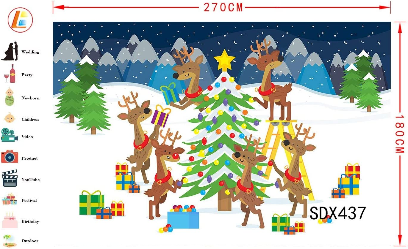 LB 9x6ft Christmas Photography Backdrop Elk Decor Christmas Tree with Gifts Balls Celebrate New Year Vinyl Customized Party Banner Photo Background Studio Prop SDX437