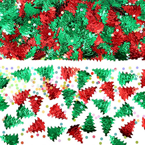 Pangda 60 g Christmas Tree Confetti Embossed Confetti Christmas Confetti, 4 Bags -