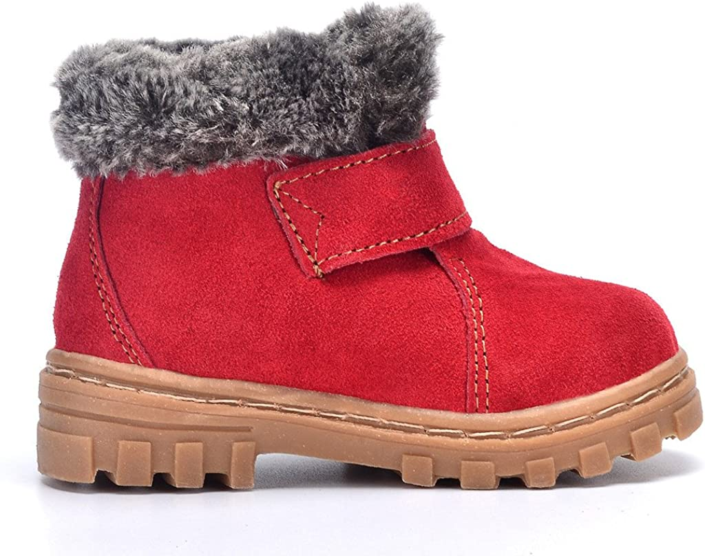 DADAWEN Boys Girls Suede Leather Outdoor Waterproof Fur Lined Winter Snow Boots Toddler//Little Kid//Big Kid