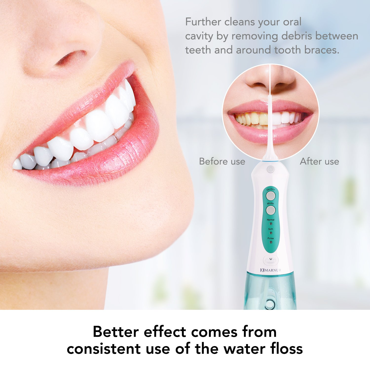 Cordless Water Flosser Portable Waterproof Dental Oral Irrigator for Teeth  Cleaning Rechargeable with 4 Jet Tips and Upgrade Water Tank,Travel and