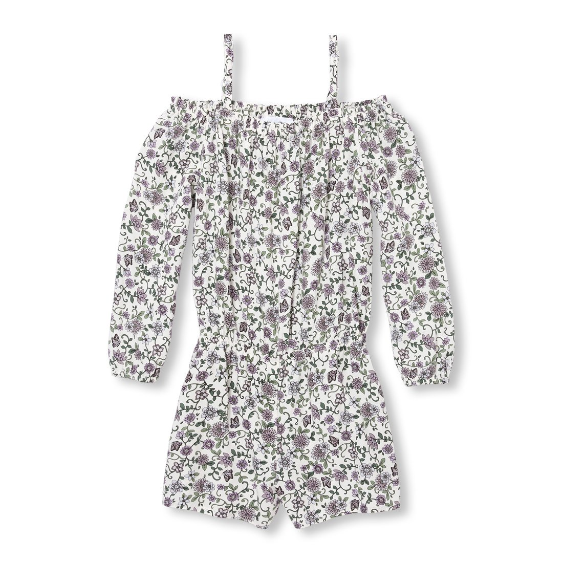The Children's Place Big Girls' Floral Woven Romper, Bunnys Tail, S (5/6)